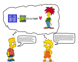 Bart and Lisa Thinking about Sideshow Bob by darthraner83