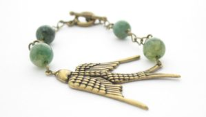 Bird Bracelet w/ Brass Chain and Moss Agate Beads by MoonlightCraft