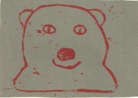Polar Bear (Red on Grey) by gpsc