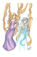 Rapunzel and Elsa Commission by Serena Guerra by SirDeLundo