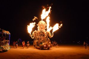 Burning Man 2012 - Flaming Mecha Octopus Car by Starjuice