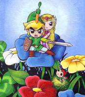 Minish Link and Zelda by KatHart