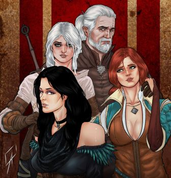 Geralt, Ciri, Yennefer and Triss by CallofTheDeep