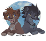 Square Enix lions by littlepolka