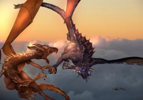 Dueling Dragons by shawnr22