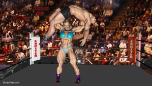 Sandy wrestles with a heavyweight wrestler 64 by eurysthee
