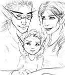 Glennolan, Thalia, and Zinnia (sketch again) by Feffervesce
