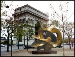 Abstract bronze at Place de l'Etoile, Paris. by bjman