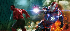Iron Patriot and Red Hulk by ComicBookGoth