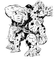 The Thing Vs The Hulk by BROKENHILL