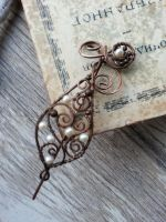 Copper shawl pin with pearls by Lirimaer86