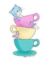 Cat, cups and mice by aurangelica