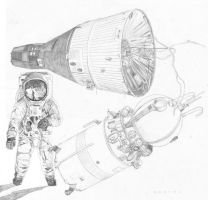 Space Race Pencil Drawings 2 by Kaffeebohnson