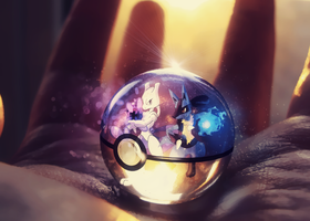 Lucario and Mewtwo Pokeball by Jonathanjo