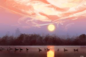 Pond sunset study by FelFortune