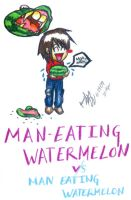 Man Eating Watermelon by AzalieUzumaki