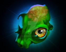 Spooky Green Skull with Yellow Look by Bluedarkat