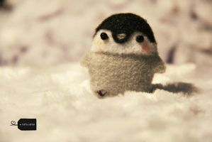needle felt penguin (forsale) by FluffyParcel