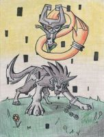 Wolf Link and Midna by Twinkie5000