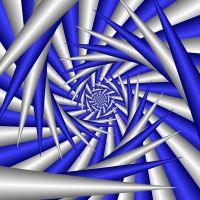 Abstract Spiral In Blue And Silver by MelanieMertens