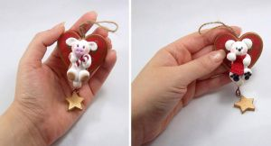 Xmas Ornaments Set of 2 - Polar bear, Cow by HeartshapedCreations