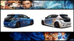 Ryu and Chun-Li Car Art Wallpaper by Knites13