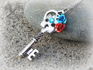 Autism Awareness Crystal Key Necklace by ArtByStarlaMoore