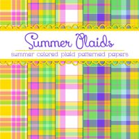 Free Summer Plaids Patterned Papers by TeacherYanie