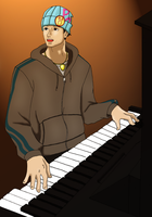 Piano playing Wright by Stoofpot