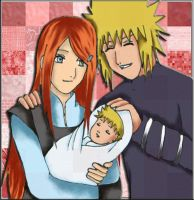 kushina and minato with naruto by Anna85