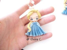 Elsa handmade polymer clay necklace by elvira-creations