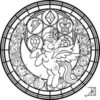 Commish: Princess Twilight StainedGlass -line art- by Akili-Amethyst