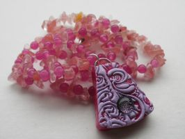 Fuchsia Lavender Pendant Beaded Necklace by cashewed-almonds