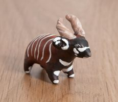 Bongo antelope polymer clay totem by lifedancecreations