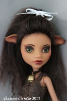 Monster High custom repaint Clawdeen cow portrait by phairee004