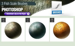 3 Photoshop Brushes for Painting Fish Scales by pixelstains