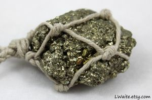 Pyrite Hemp Wrapped Necklace close up by LWaite