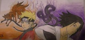 sasuke and naruto (completed) by abtheartist
