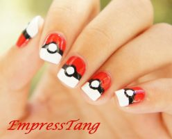 Poke Ball Nails by EmpressTang