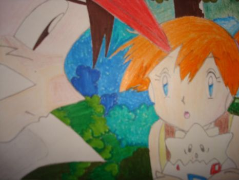 Ash, Misty and Togepi by rawrrawrrou