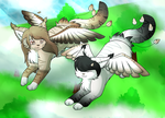 Commission - Playing on the clouds by FlareAKACuteFlareon