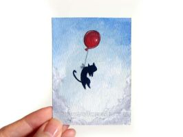 Balloon Cat ACEO #1 / Sold by sobeyondthis