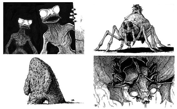 Various spot illos for 'Adventures Dark and Deep' by JerryBoucher