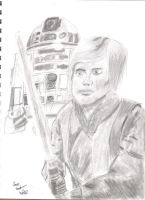 Luke and R2 by flamequil