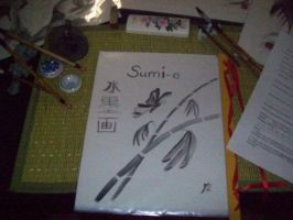 sumi-e display booklet i made by Iolii