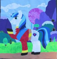 Shining Armor Charity Pony Quilt Square by Drachefrau