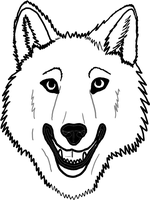 Pleasant Wolf Face Lineart by dogboy09