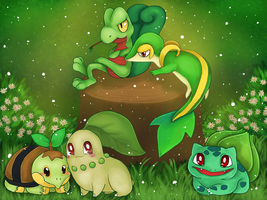 The Grass Starters by Butterfly-Kitsune