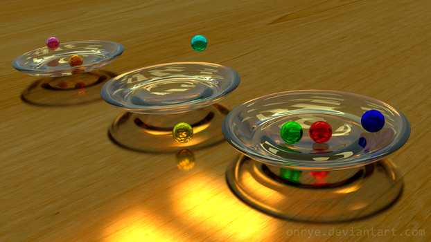 Tossing Marbles into Glass Bowls by OnRye
