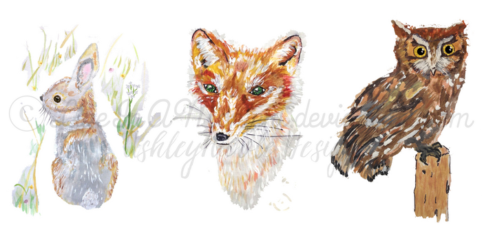 My Brand's Woodland Animals in Watercolor by LiveInAMoment